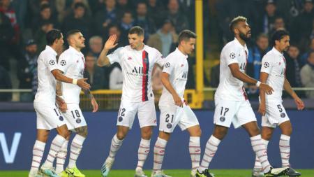 Selebrasi pemain PSG usai Mauro Icardi cetak gol ke gawang Club Brugge dalam lanjutan Liga Champions, Kamis (07/11/19) dini hari WIB. - INDOSPORT