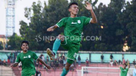 Pemain PSMS Medan, Eki Fauji Saputra, tak menyangka dapat mencetak dua gol dari set piece saat mengalahkan BaBel United di pertandingan Liga 2 2019. - INDOSPORT