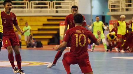 Timnas Futsal Indonesia memastikan diri lolos ke semifinal Piala AFF Futsal 2019, usai menang atas Australia dalam matchday ketiga Grup B, Rabu (23/10/19). - INDOSPORT