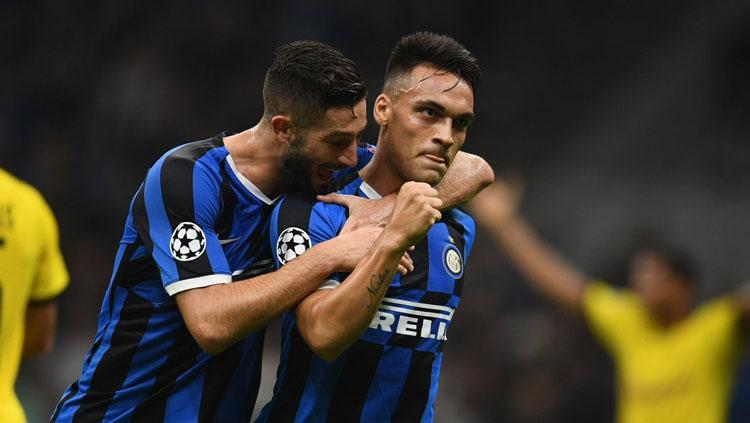 Lautaro Martinez merayakan gol pada laga Inter Milan vs Borussia Dortmund di Liga Champions 2019-2020, Kamis (24/10/19). Copyright: Twitter/@IFTVofficial
