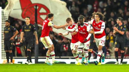 Nicolas Pepe merayakan gol pada laga Arsenal vs Vitoria de Guimaraes di Liga Europa 2019/2020, Jumar (25/10/19). - INDOSPORT