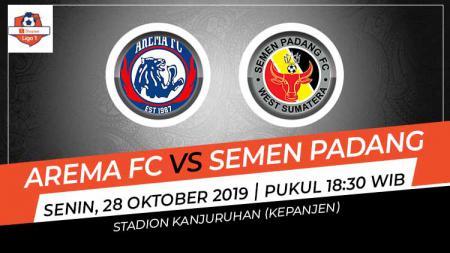 Prediksi pertandingan Shopee Liga 1 2019 antara Arema FC vs Semen Padang pada pekan ke-24, Senin (28/10/19), pukul 18.30 WIB, di Stadion Kanjuruhan. - INDOSPORT