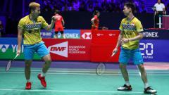 Indosport - Berita bulutangkis: Kevin Sanjaya Sukamuljo/Marcus Fernaldi Gideon kembali menunjukkan penyelamatan gila, kali ini saat berlaga di final Fuzhou China Open 2019.