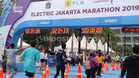 Gate turnamen Electric Jakarta Marathon 2019, Minggu (271019) di Stadion Utama Gelora Bung Karno, Senayan, Jakarta. - INDOSPORT