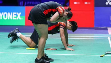 Ganda campuran Indonesia Praveen Jordan/Melati Daeva Oktavianti tak bisa menahan haru usai juara French Open 2019
