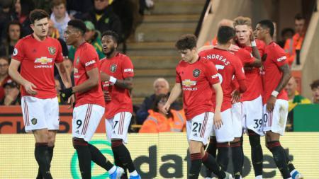 Manchester United disebut masih berpeluang lolos ke Liga Champions musim depan usai meraih kemenangan atas Norwcih City, Minggu (27/10/19) lalu. - INDOSPORT