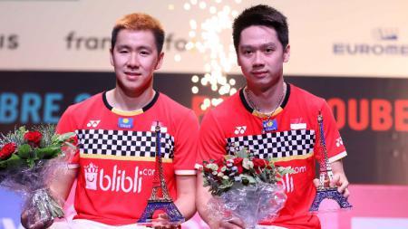 Kiprah Marcus Fernaldi Gideon/Kevin Sanjaya Sukamuljo di final Fuzhou China Open 2019, Minggu (10/11/19), bisa disaksikan secara langsung melalui live streaming. - INDOSPORT