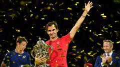 Indosport - Roger Federer memenangkan Swiss Indoors Basel.