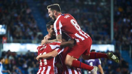 Selebrasi pemain Atletico Madrid terhadap gol Alvaro Morata ke gawang Alaves pada pekan ke-11 LaLiga Spanyol, Rabu (30/10/19) dini hari WIB. - INDOSPORT