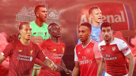 Starting XI gabungan Liverpool dan Arsenal di babak keempat Piala Liga Inggris-Carabao Cup 2019-2020, Kamis (31/10/19), pukul 02.30 WIB, di Anfield. - INDOSPORT