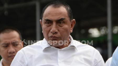 Edy Rahmayadi berharap PSMS Medan kembali menggelar latihan tim pasca diliburkan Oktober 2020 lalu. - INDOSPORT