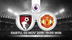 Indosport - Prediksi Pertandingan Liga Inggris Bournemouth vs Manchester United.