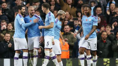 Selebrasi Kyle Walker di laga Manchester City vs Southampton. - INDOSPORT