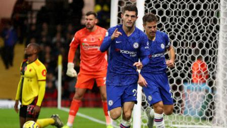 Selebrasi gelandang Chelsea, Christian Pulisic, usai mencetak gol ke gawang Watford pada pekan ke-11 Liga Inggris - INDOSPORT