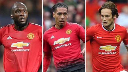 Romelu Lukaku, Chris Smalling dan Daley Blind. - INDOSPORT