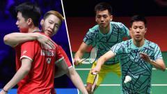 Indosport - Nasib sial harus dialami pasangan Malaysia ketika coba-coba meniru aksi tengil pebulutangkis Indonesia, Kevin Sanjaya di pagelaran Piala Thomas 2018.