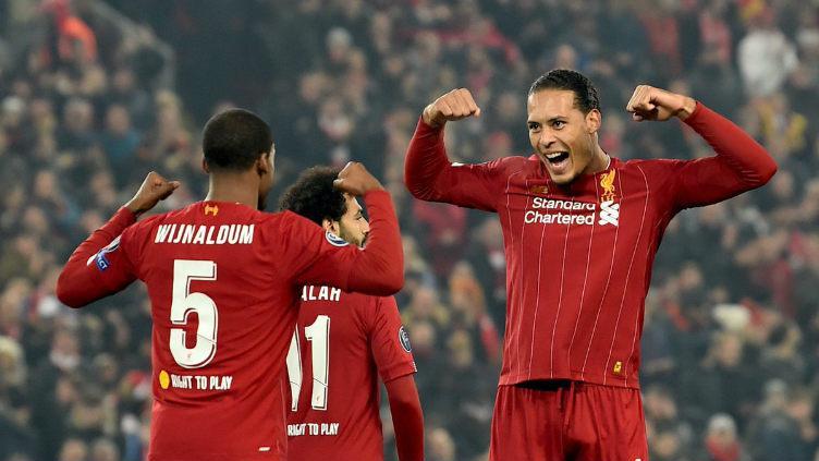 Selebrasi kemenangan Virgil van Dijk dan Georginio Wijnaldum Copyright: twitter @Liverpool