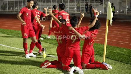 Selebrasi para pemain Timnas Indonesia U-19 usai mengalahkan Timor Leste U-19 dalam laga perdana kualifikasi Piala Asia U-19 2020. - INDOSPORT