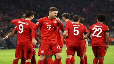 Selebrasi para pemain Bayern Munchen usai mengalahkan Olympiacos di Liga Champions. - INDOSPORT