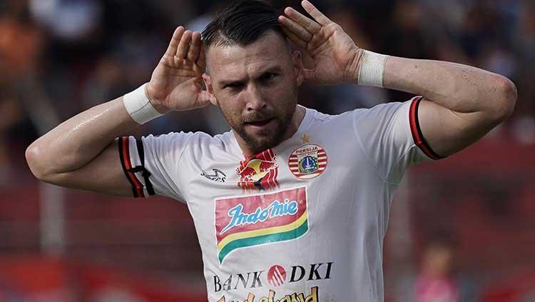 Marko Simic berselebrasi usai mencetak gol ke gawang Semen Padang, Kamis (7/11/19). Copyright: Instagram.com/persijajkt