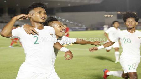 Selebrasi pemain Timnas Indonesia U-19, Bagas Kaffa bersama Beckham Putra dan Bagus Kahfi. - INDOSPORT
