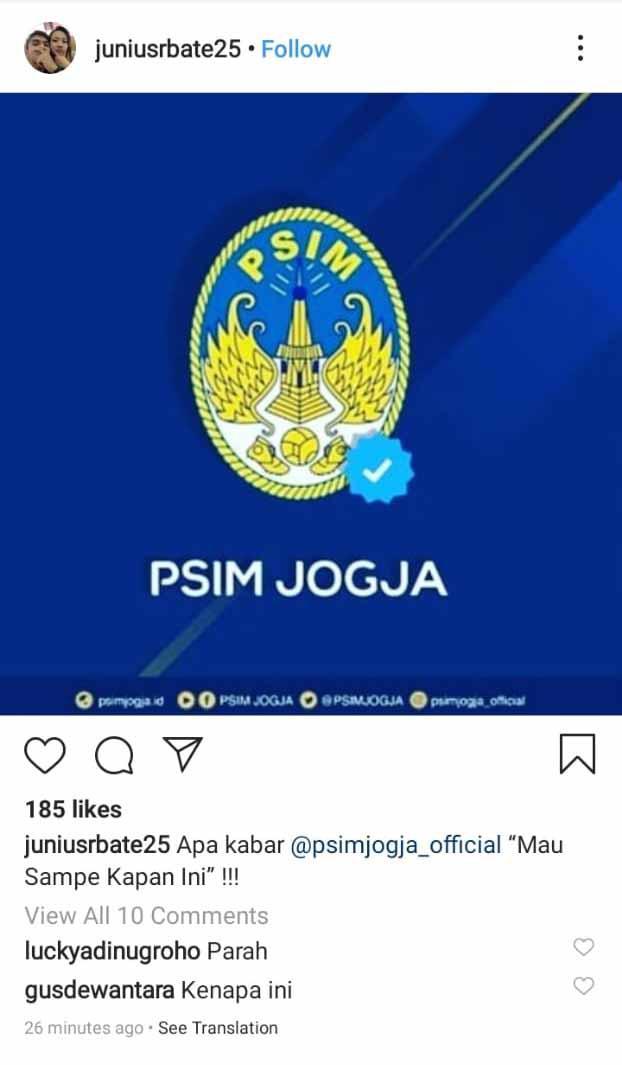 Postingan Felisianus Junius R Bate ke PSIM Yogyakarta. Copyright: Instagram