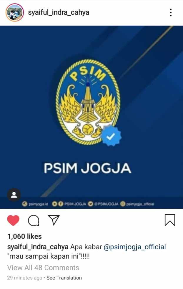 Postingan Syaiful Indra Cahya ke PSIM Yogyakarta. Copyright: Instagram