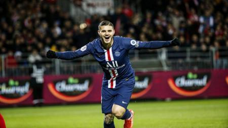 Selebrasi Mauro Icardi setelah membawa Paris Saint-Germain kalahkan Brest - INDOSPORT