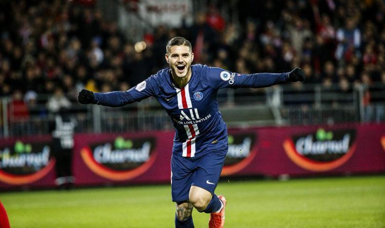 Selebrasi Mauro Icardi setelah membawa Paris Saint-Germain kalahkan Brest Copyright: Twitter @PSG_English