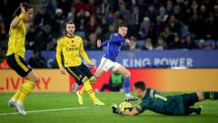 Indosport - Suasana pertandingan Leicester City vs Arsenal.