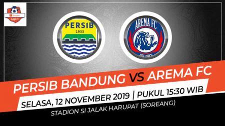 Laga tunda pekan ke-21 Shopee Liga 1 antara Persib Bandung vs Arema FC, Selasa (12/11/19) pukul 15.30 WIB, bisa disaksikan lewat live streaming di Vidio.com. - INDOSPORT