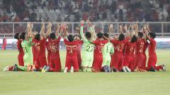 Indosport - Laga pertandingan antara Indonesia U-19 vs Korea Utara U-19 pada Kualifikasi Piala Asia U-19 di GBK, Jakarta, Minggu (10/11/19).