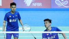 Indosport - Ganda Putra Indonesia, Leo/Marthin gagal melaju ke babak perempatfinal Thailand Masters 2020 setelah dikalahkan Ganda Putra asal Jepang, Koga/Saito.