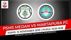 PSMS Medan berhasil meraih kemenangan tipis 2-1 atas Martapura FC dalam pertandingan kedua Grup B babak 8 besar Liga 2 2019, Kamis (14/11/19).