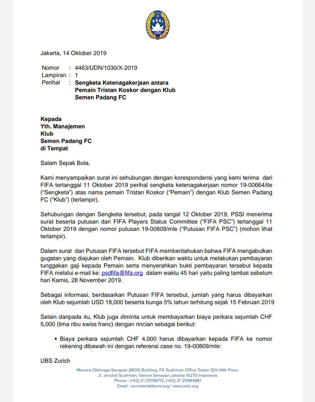 Surat peringatan FIFA lewat PSSI untuk Semen Padang Copyright: Dok PSSI