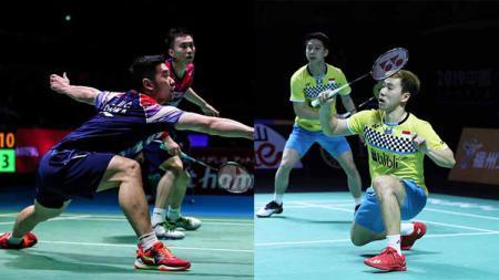 Kevin Sanjaya/Marcus Gideon vs Huang Kai Xiang/Liu Cheng di pertandingan babak kedua Hong Kong Open 2019. - INDOSPORT