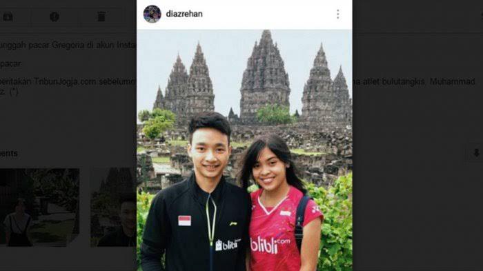 Gregoria Mariska Tanjung dan Muhammad Rehan Diaz di Candi Prambanan. Copyright: Instagram Muhammad Rehan Diaz