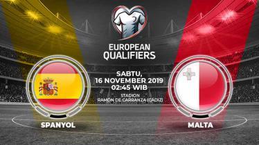 Spanyol diprediksi akan mengalahkan Malta dalam laga kesembilan grup F Kualifikasi Euro 2020 melawan Malta di Ramon de Carranza, Sabtu (16/11/19), 02.45 WIB.