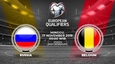 Matchday kedelapan grup I Kualifikasi Euro 2020 akan menyajikan laga antara Rusia melawan Belgia, Minggu (17/11/19), pukul 00.00 WIB di Krestovsky Stadium. - INDOSPORT