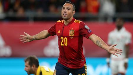 Selebrasi Santi Cazorla usai Mencetak Gol dalam Laga Spanyol vs Malta di Kualifikasi Piala Eropa 2020 - INDOSPORT