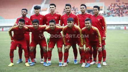 Skuat Timnas Indonesia U-23 dalam laga uji coba melawan Iran U-23.