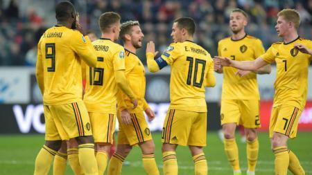 Selebrasi Eden Hazard Setelah Mencetak Gol dalam Laga Rusia vs Belgia di Kualifikasi EURO 2020 - INDOSPORT
