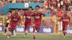 Indosport - Selebrasi gol pemain Persijap Jepara di Liga 3 2019.