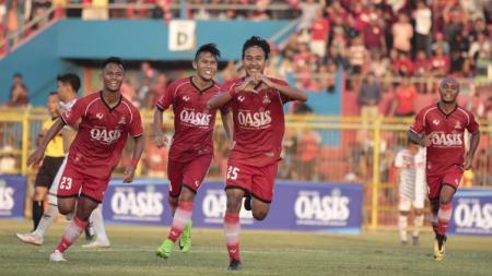 Selebrasi gol pemain Persijap Jepara di Liga 3 2019. - INDOSPORT