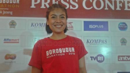 Berita sport: Brand Ambassador Borobudur Marathon 2019, Sigi Wimala, ingin menularkan energi positif melalui olahraga lari. - INDOSPORT
