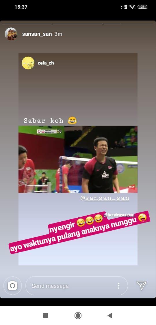 Postingan Instagram Story Sandiana Arief, Istri Hendra Setiawan. Copyright: INSTAGRAM/@sansan_san