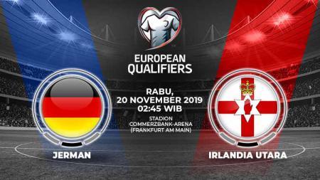 Jerman akan menutup babak Kualifikasi Euro 2020 dengan menjamu Irlandia Utara di Stadion Commerzbank-Arena, Rabu (20/11/19) dini hari WIB. - INDOSPORT