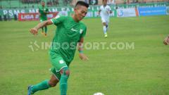 Indosport - Pemain klub Liga 2 PSMS Medan, Eki Fauji Saputra. (Foto: Aldi Aulia Anwar/INDOSPORT)