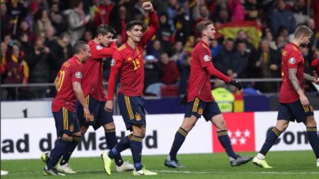 Selebrasi Gerard Moreno di ajang Kualifikasi Euro 2020 antara Spanyol vs Rumania, Selasa (19/11/19) dini hari WIB. - INDOSPORT