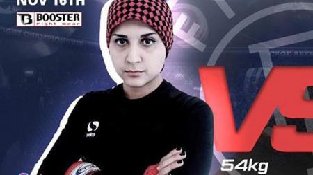 Saeideh Aletha, petarung wanita yang meninggal setelah mengalami cedera di bagian vital. - INDOSPORT